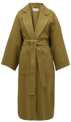 Oversized Belted Wool-blend Coat - Womens - Khaki by Loewe, available on shopstyle.com for $2650 Kaia Gerber Outerwear SIMILAR PRODUCT