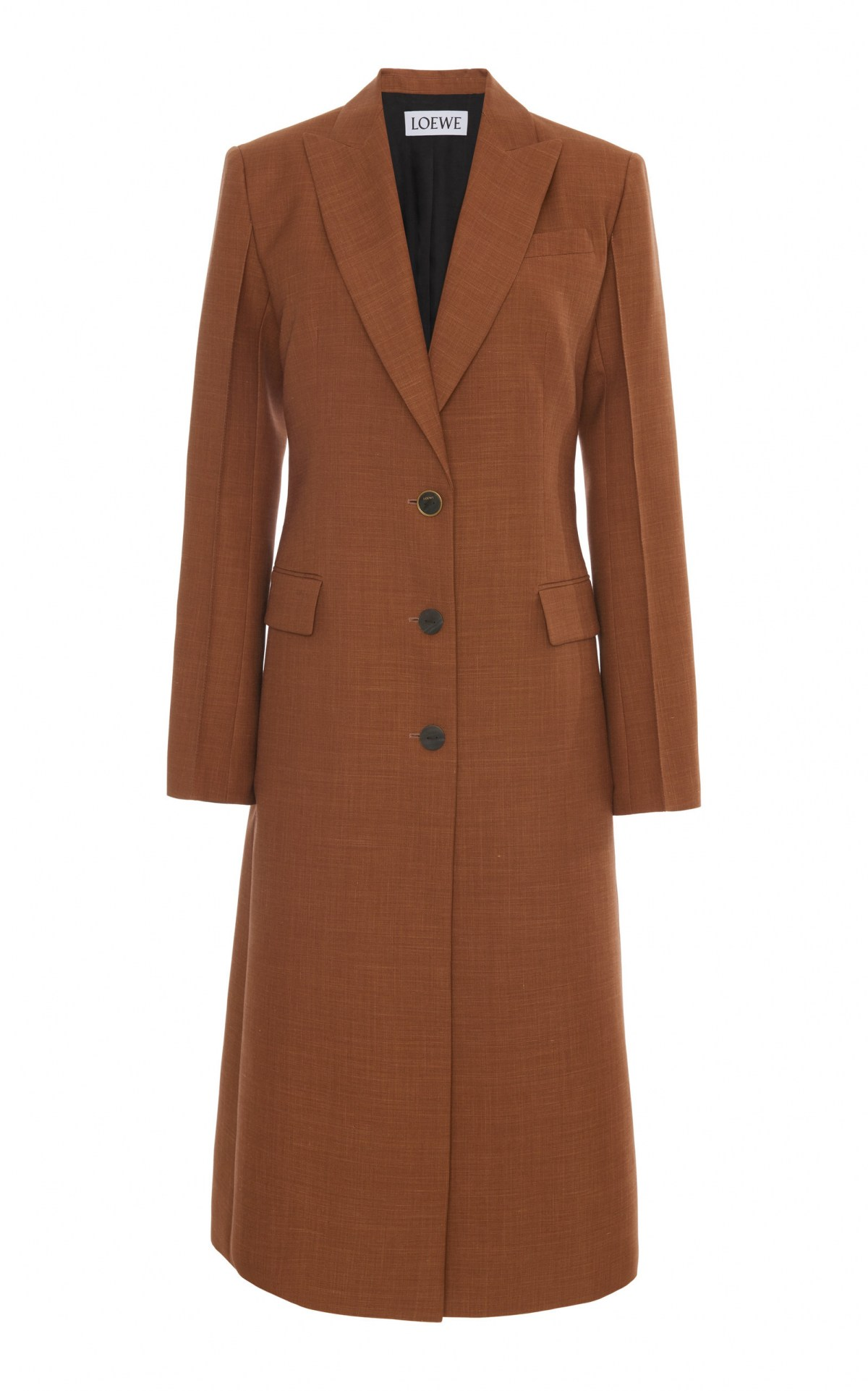 Peaked Wool Overcoat by Loewe, available on modaoperandi.com for $2294 Kaia Gerber Outerwear Exact Product