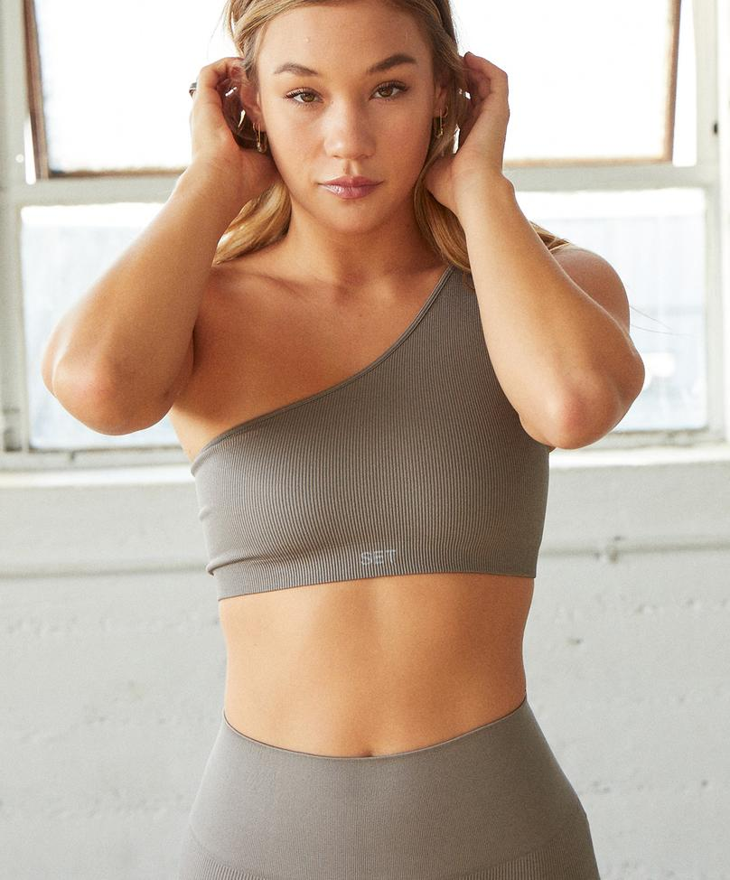RIBBED ONE SHOULDER BRA by Set Active, available on setactive.co for $45 Kaia Gerber Top SIMILAR PRODUCT