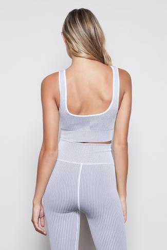 THE SEAMLESS RIBBED BRA | WHITE001 by Good American, available on goodamerican.com for $59 Kaia Gerber Top SIMILAR PRODUCT