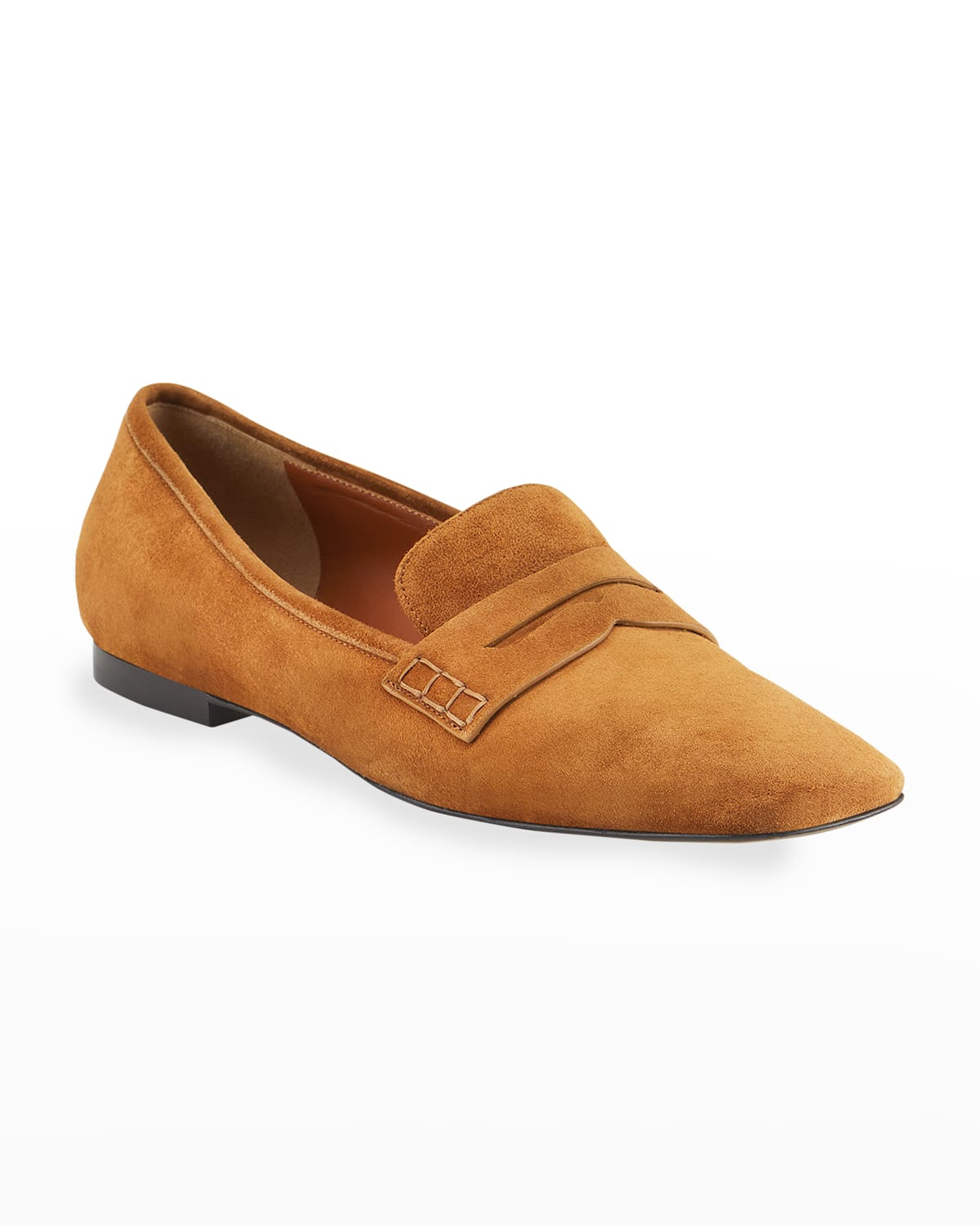 Carlisle Suede Penny Loafer by Khaite, available on neimanmarcus.com for $740 Karlie Kloss Shoes Exact Product