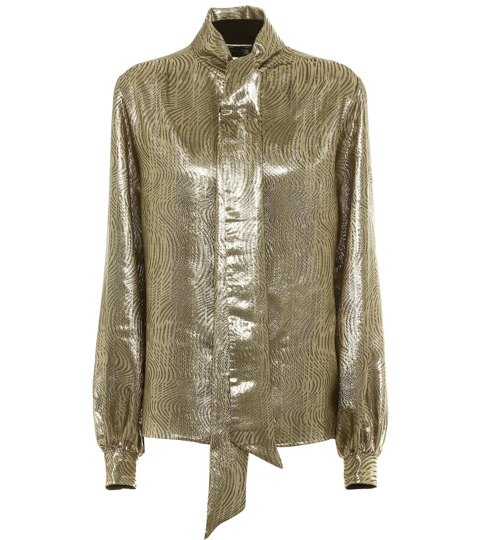 Silk-blend lamé blouse by Saint Laurent, available on mytheresa.com for EUR1490 Kate Moss Top Exact Product