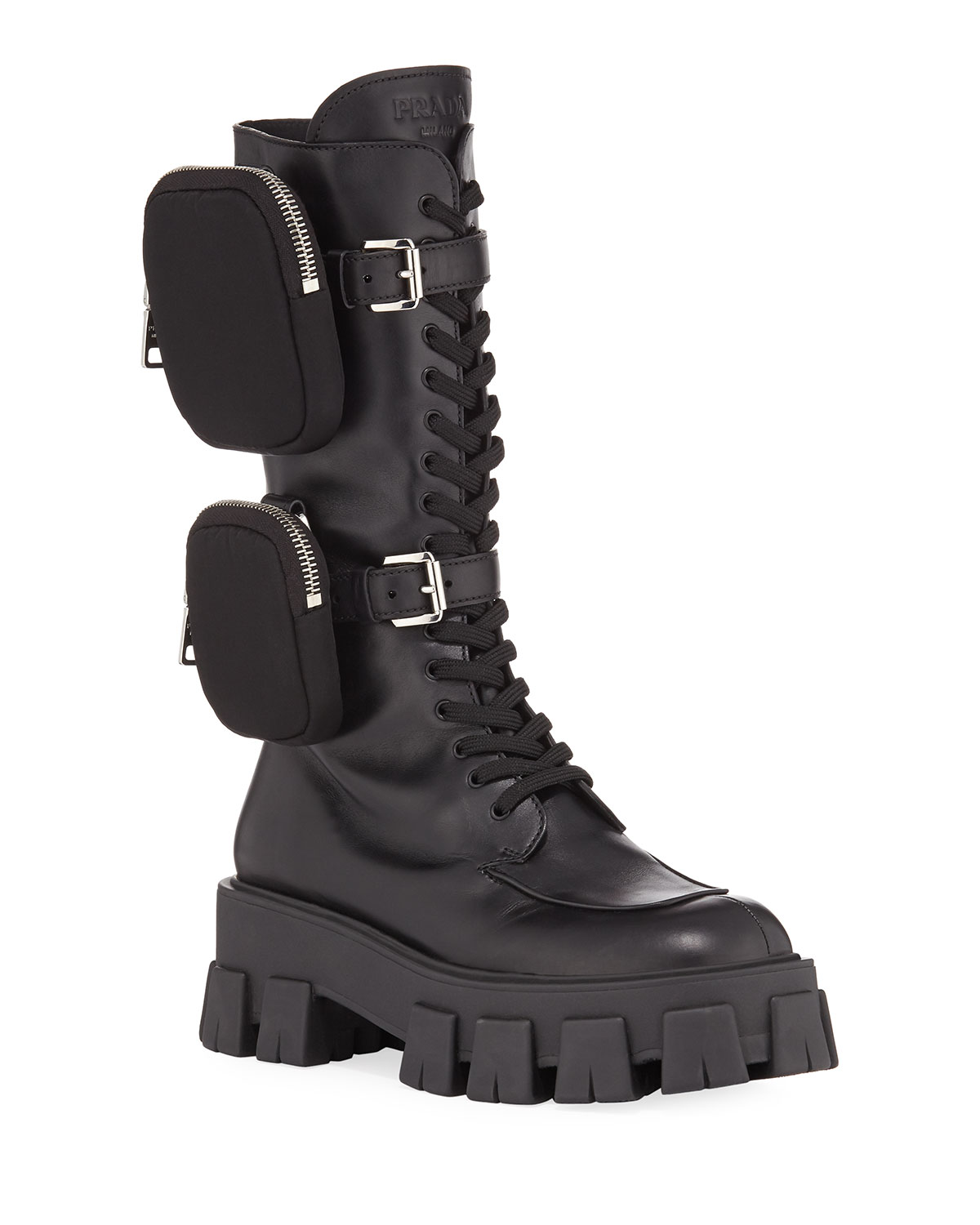 55mm Lace-Up Zip Pouch Platform Moto Boots by Prada, available on neimanmarcus.com Kendall Jenner Shoes Exact Product