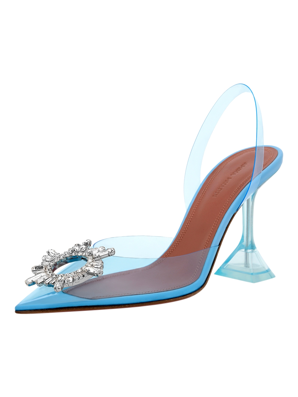 Begum Glass Pvc Transparent Light Blue by Amina Muaddi, available on thewebster.us Kendall Jenner Shoes Exact Product