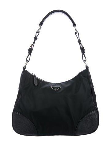 Black Tessuto nylon Prada hobo by Prada, available on therealreal.com for $395 Kendall Jenner Bags Exact Product