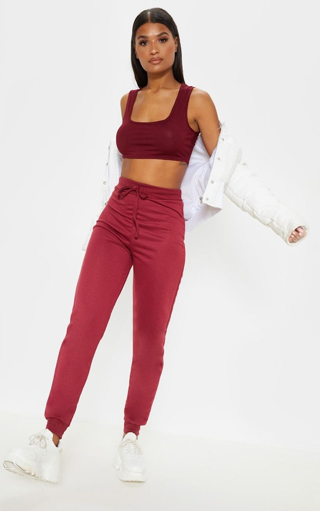 Burgundy Ultimate Sweat Joggers by Pretty Little Thing, available on prettylittlething.com for $11 Kendall Jenner Pants SIMILAR PRODUCT