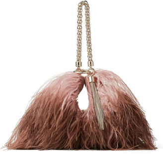 CALLIE Blush and Toffee Degrade Ostrich Feather-Trimmed Leather Clutch Bag by Jimmy Choo, available on shopstyle.com for $1895 Kendall Jenner Hat Exact Product
