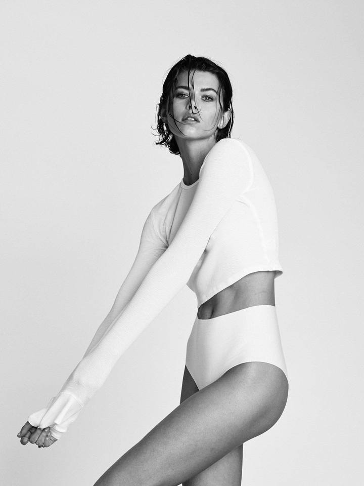 CROPPED LONG SLEEVE THERMAL WHITE by Eterne, available on shopeterne.com for $115 Kendall Jenner Top Exact Product