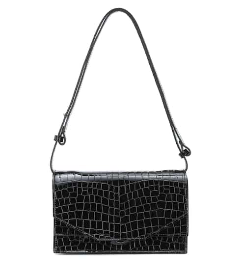 Croc-effect patent leather shoulder bag by Ganni, available on mytheresa.com for EUR575 Kendall Jenner Bags SIMILAR PRODUCT