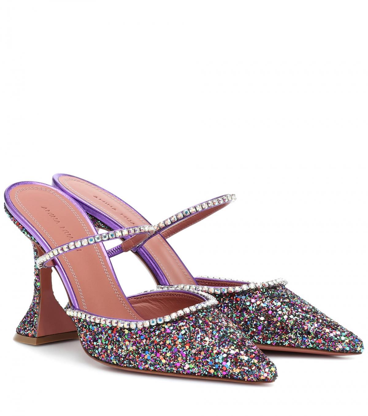 Crystal Embellished Mules by Amina Muaddi, available on mytheresa.com for $945 Kendall Jenner Shoes Exact Product