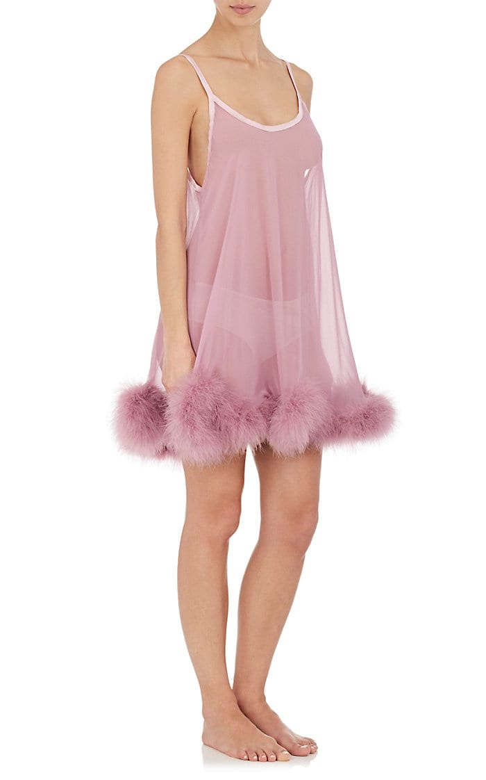 Diana Marabou-Detailed Silk Babydoll by GILDA & PEARL, available on barneys.com for $400 Kendall Jenner Dress Exact Product