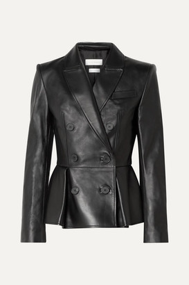 Double-breasted Pleated Leather Blazer - Black by Alexander McQueen, available on shopstyle.com for $1898 Kendall Jenner Outerwear SIMILAR PRODUCT