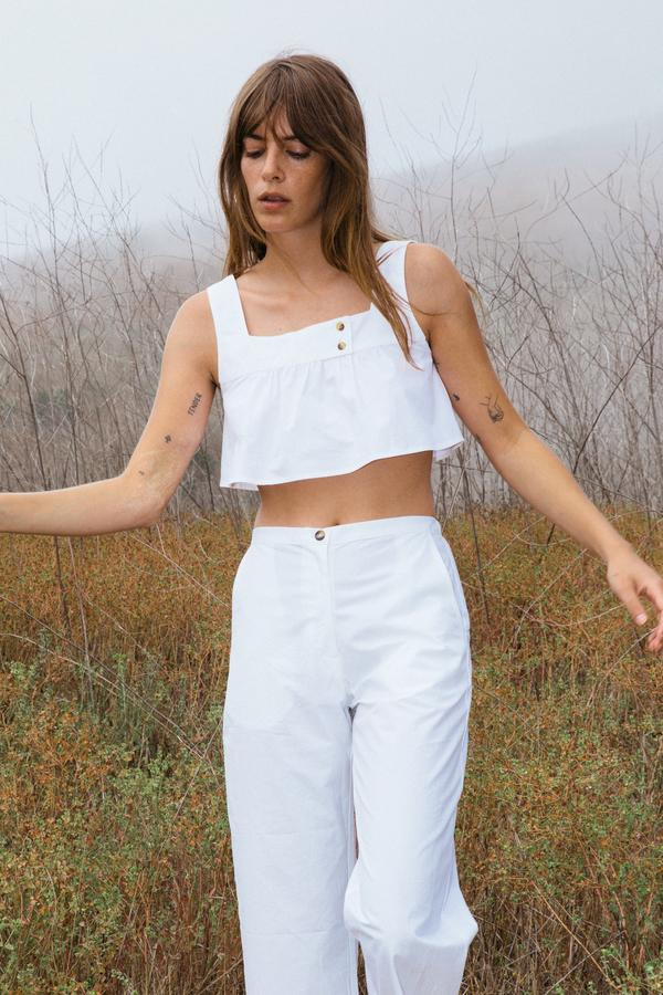 Eva Top White Cotton by Ciao Lucia, available on ciaolucia.com for $225 Kendall Jenner Top Exact Product