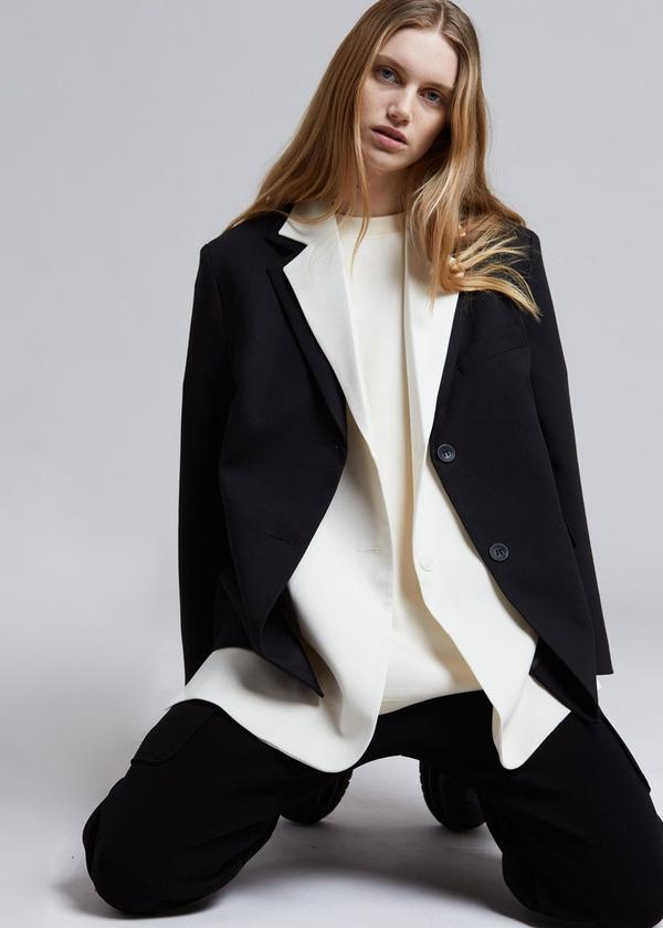 FRAN DOUBLE LAYER BLAZER IN BLACK/CREAM by The Frankie Shop, available on thefrankieshop.com for $239 Kendall Jenner Outerwear Exact Product