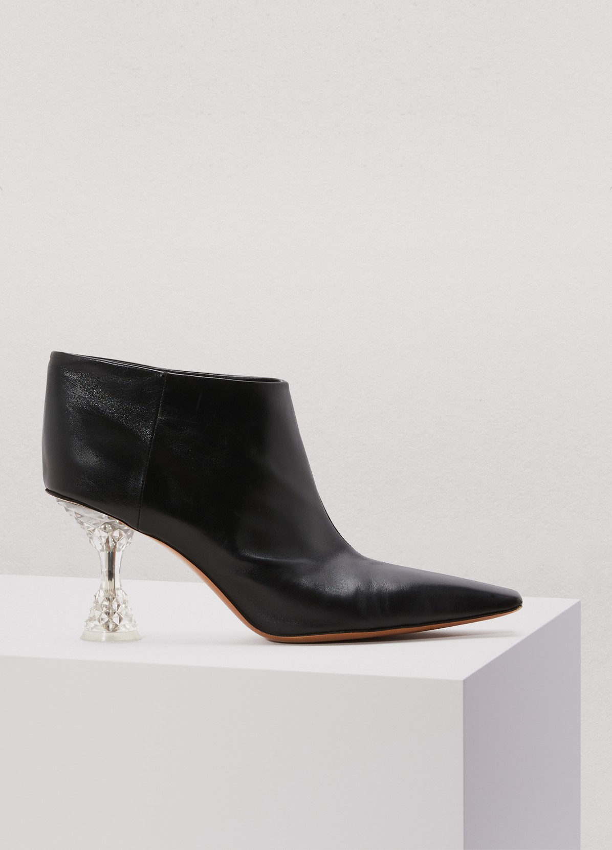 Facetted heel ankle boot in kidskin by Celine, available on 24sevres.com Kendall Jenner Shoes Exact Product