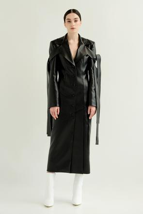 Faux leather coat w/ ties by Materiel Tbilisi, available on materieltbilisi.com for $838 Kendall Jenner Outerwear SIMILAR PRODUCT