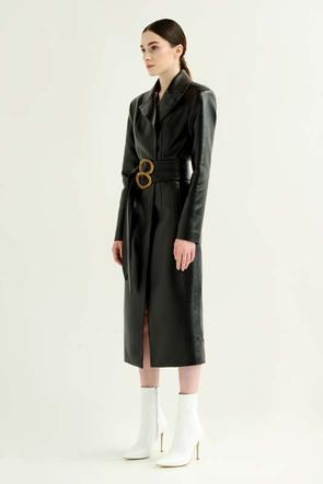 Faux leather coat w/double belt by Materiel Tbilisi, available on materieltbilisi.com for $912 Kendall Jenner Outerwear SIMILAR PRODUCT