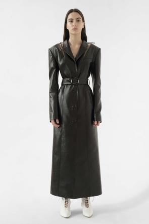 Faux leather cut out coat by Materiel Tbilisi, available on materieltbilisi.com for $948 Kendall Jenner Outerwear Exact Product