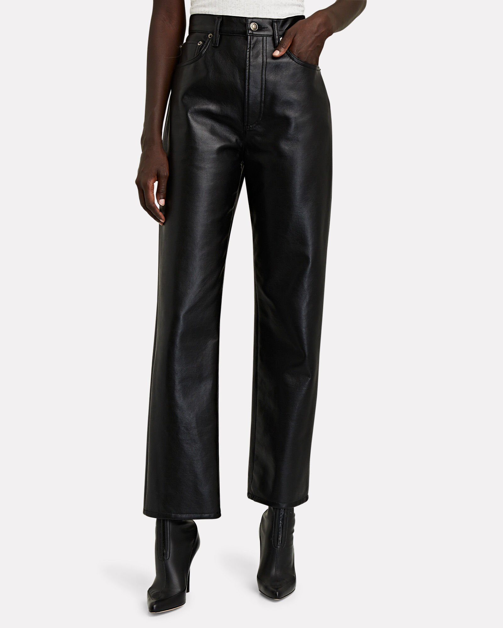 Fitted 90s Recycled Leather Pants by Agolde, available on intermixonline.com for $298 Kendall Jenner Pants Exact Product