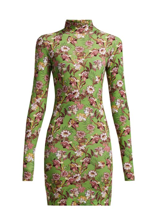 Floral-print long-sleeved mini dress by Vetements, available on matchesfashion.com for EUR600 Kendall Jenner Dress Exact Product
