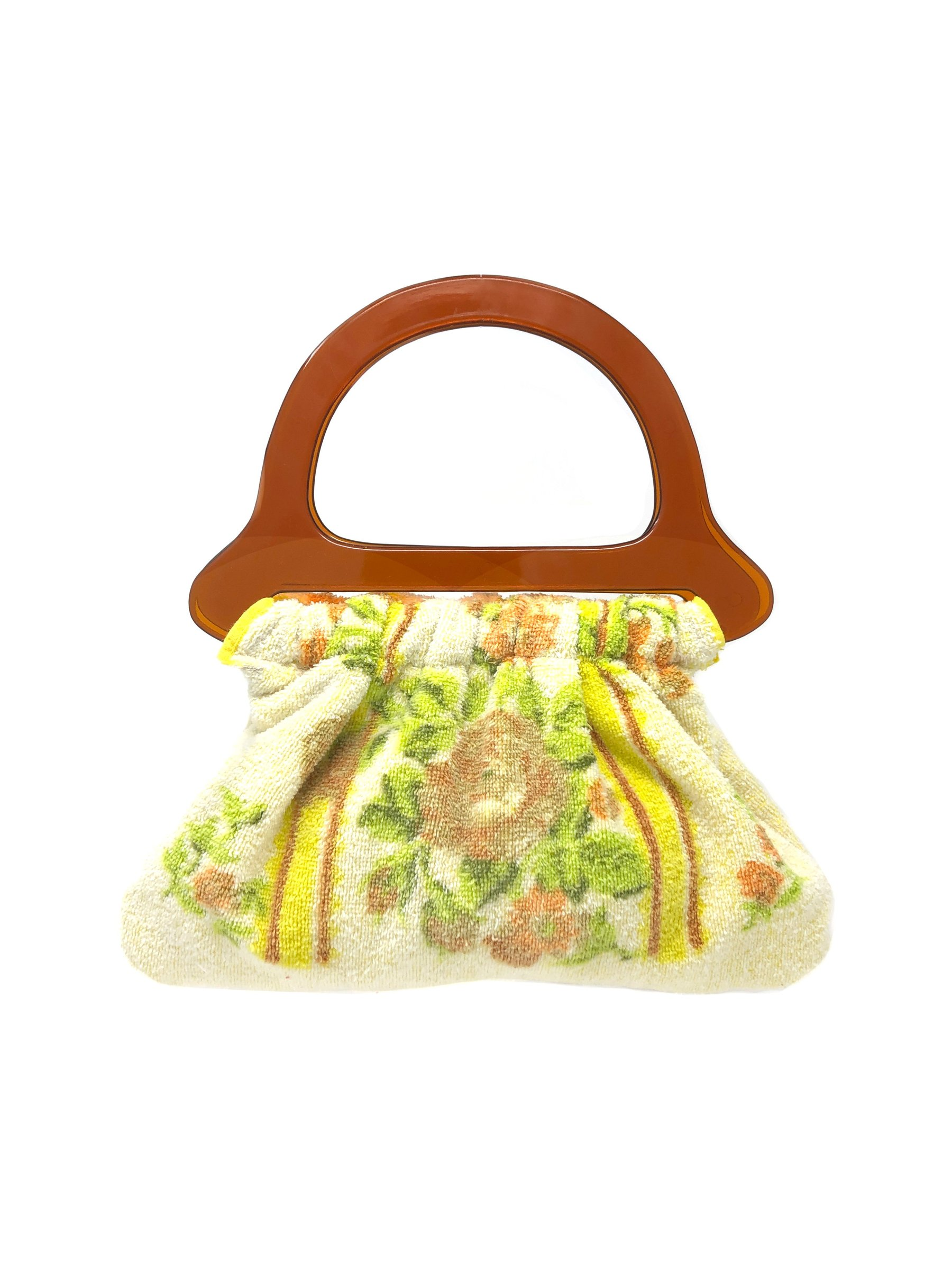 Floral print terry cloth handbag with deadstock acrylic handles by TIANNA HANDBAG, available on gr8daneworld.com Kendall Jenner Bags Exact Product