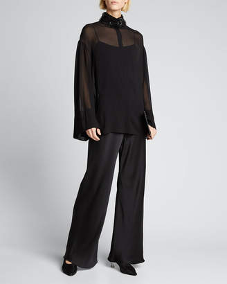 Gala Crepe Wide-Leg Pants by The Row, available on shopstyle.com for $2190 Kendall Jenner Pants Exact Product