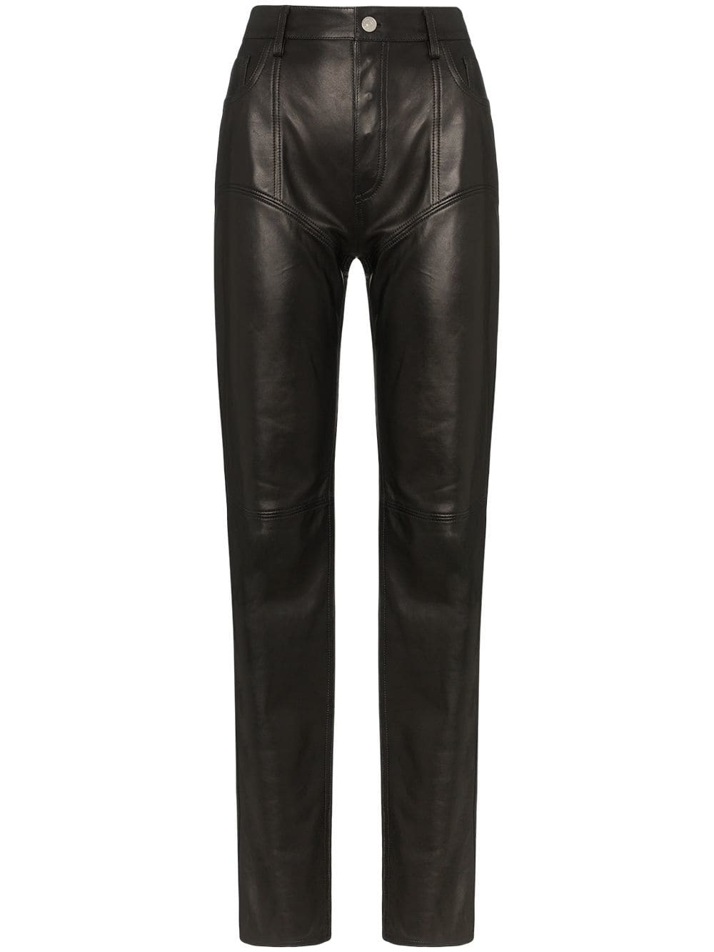 High-waisted straight leg leather trousers by Mugler, available on farfetch.com for $1942 Kendall Jenner Pants Exact Product