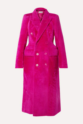 Hourglass Double-breasted Shearling Coat - Fuchsia by Balenciaga, available on shopstyle.com for $5800 Kendall Jenner Outerwear Exact Product