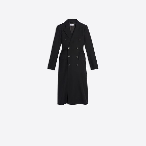 Hourglass Double Breasted Coat Black by Balenciaga, available on balenciaga.com for $3200 Kendall Jenner Outerwear Exact Product
