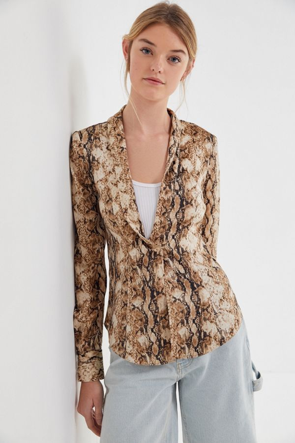 Isolde Snake Print Wrap Blouse by Ronny Kobo, available on urbanoutfitters.com for $278 Kendall Jenner Top Exact Product