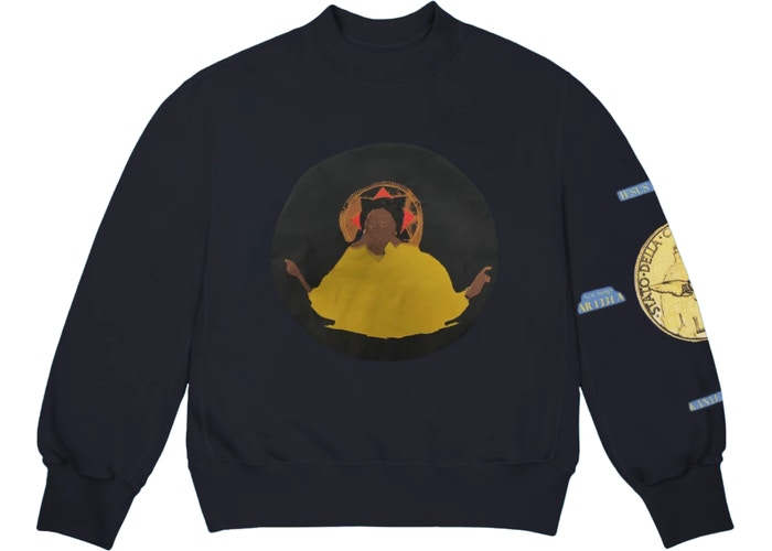 Jesus Is King Detroit Crewneck Navy by Kanye West, available on stockx.com for $155 Kendall Jenner Top Exact Product