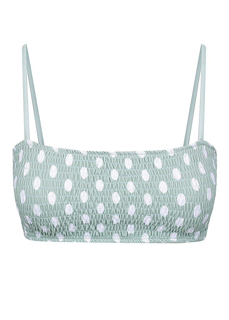 Kylie Bikini Top in Polkadot Sage by Wanderlust, available on wanderlust-swim.com for $55 Kendall Jenner Swimwear Exact Product