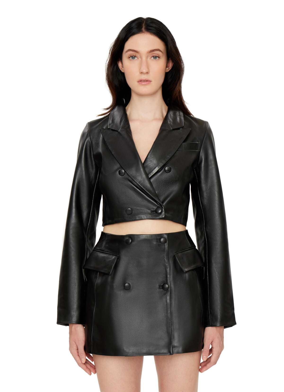 LEATHER BLAZER TOP by Danielle Guizio, available on danielleguiziony.com for $488 Kendall Jenner Outerwear SIMILAR PRODUCT