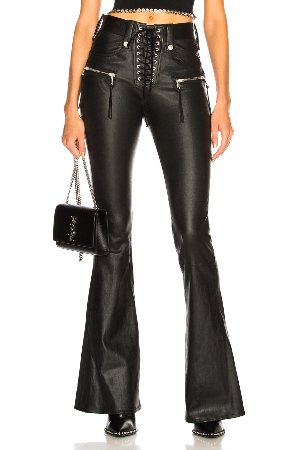 Leather Lace Up Flare by Unravel, available on fwrd.com for $1482 Kendall Jenner Pants Exact Product