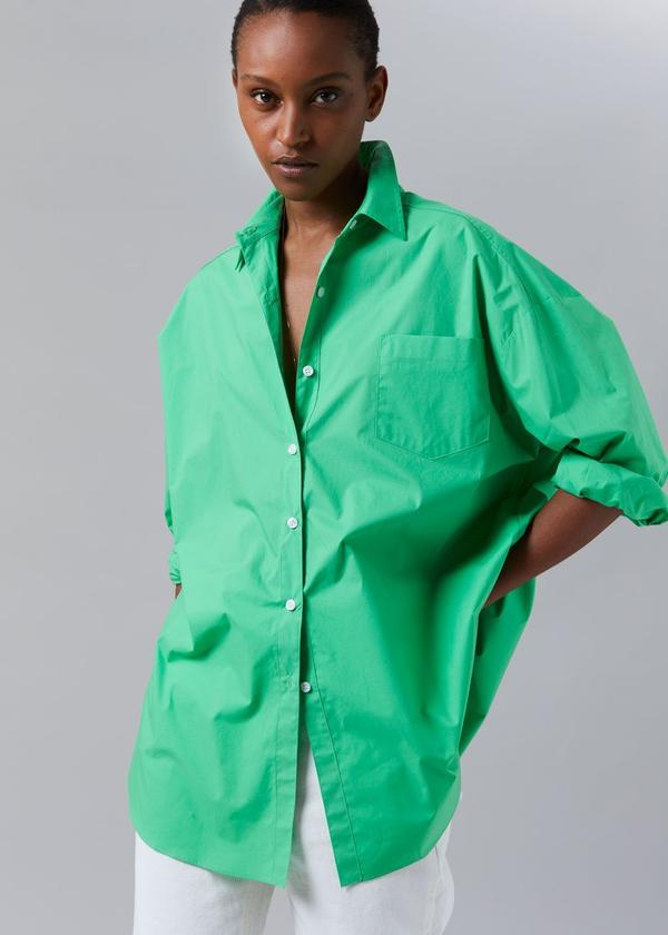 MELODY OVERSIZED COTTON SHIRT - ISLAND GREEN by The Frankie Shop, available on thefrankieshop.com for $115 Kendall Jenner Outerwear Exact Product