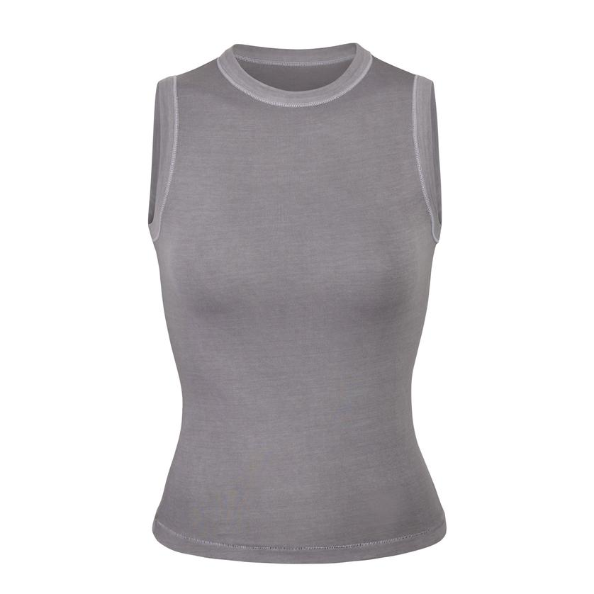 OUTDOOR BASICS CREW NECK TANK by Skims, available on skims.com for $45 Kendall Jenner Top Exact Product