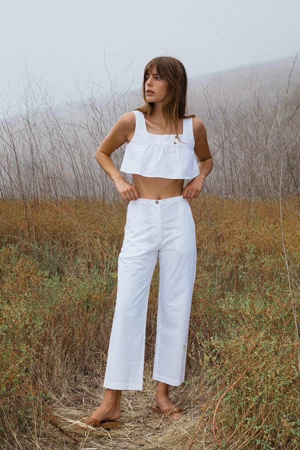 Pietro Pant White Cotton by Ciao Lucia, available on ciaolucia.com for $295 Kendall Jenner Pants Exact Product