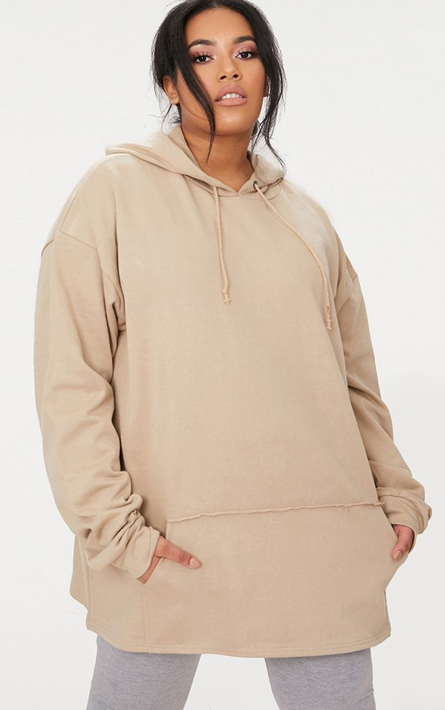 Plus Taupe Oversized Hoodie by Pretty Little Thing, available on prettylittlething.com for $25 Kendall Jenner Outerwear SIMILAR PRODUCT