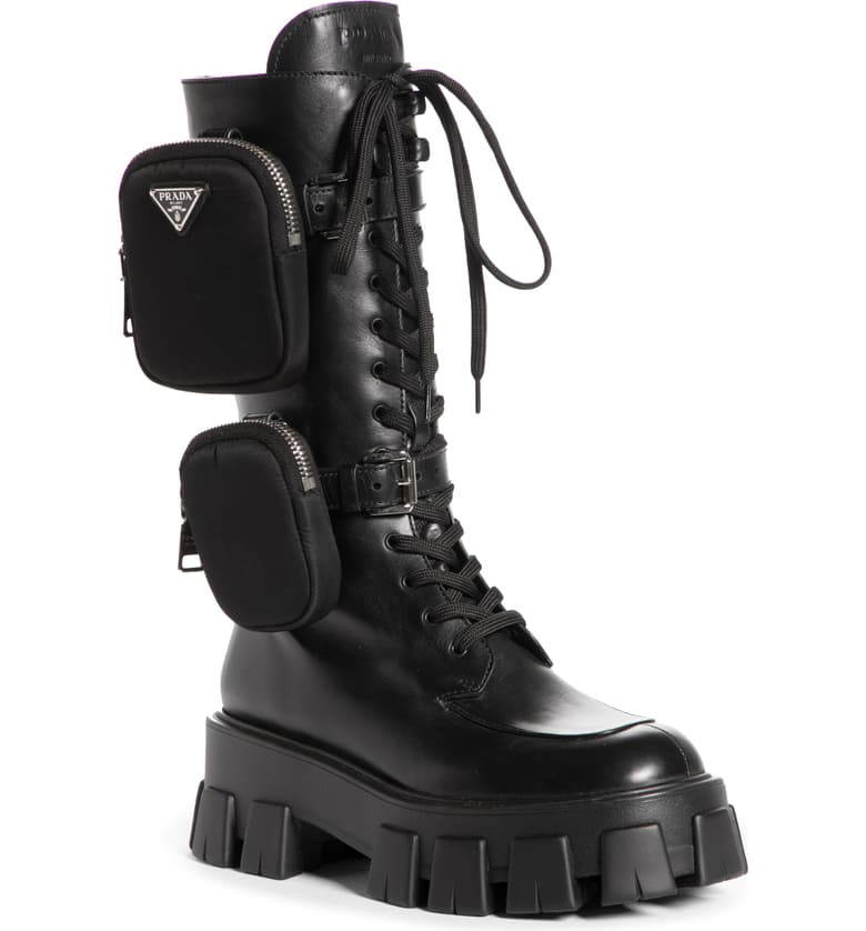 Removable Pouch Combat Boot by Prada, available on nordstrom.com for $1500 Kendall Jenner Shoes SIMILAR PRODUCT
