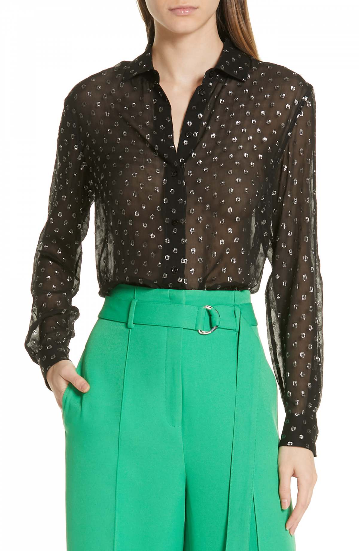 Robert Rodriguez Camille Fil Coupé Silk Blend Chiffon Shirt by ROBERT RODRIGUEZ, available on nordstrom.com for $365 Kendall Jenner Top SIMILAR PRODUCT