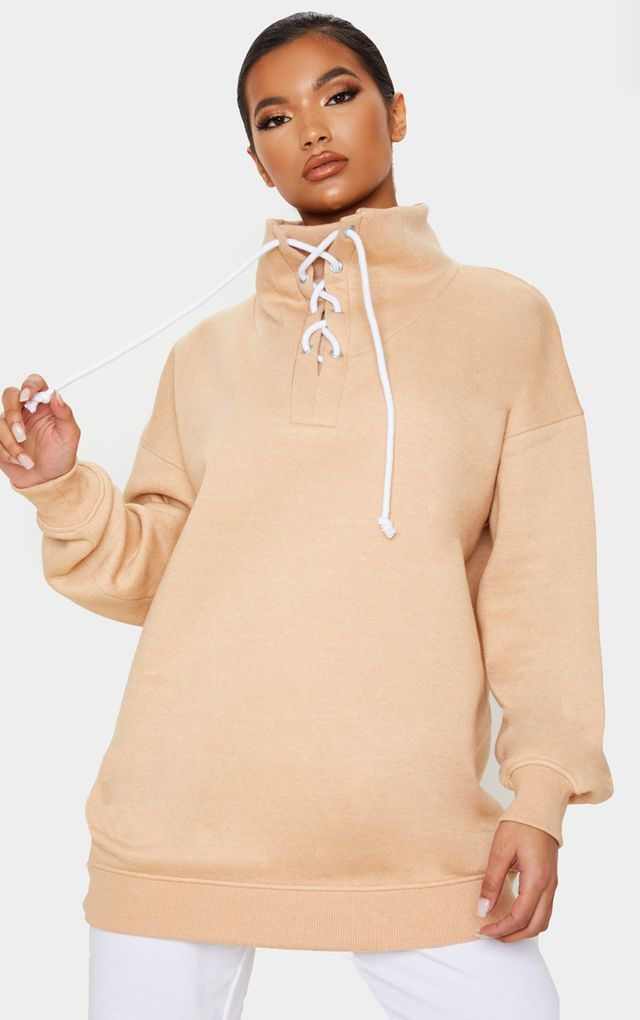 Sand Lace Up High Neck Sweater by Pretty Little Thing, available on prettylittlething.com for $25 Kendall Jenner Outerwear SIMILAR PRODUCT