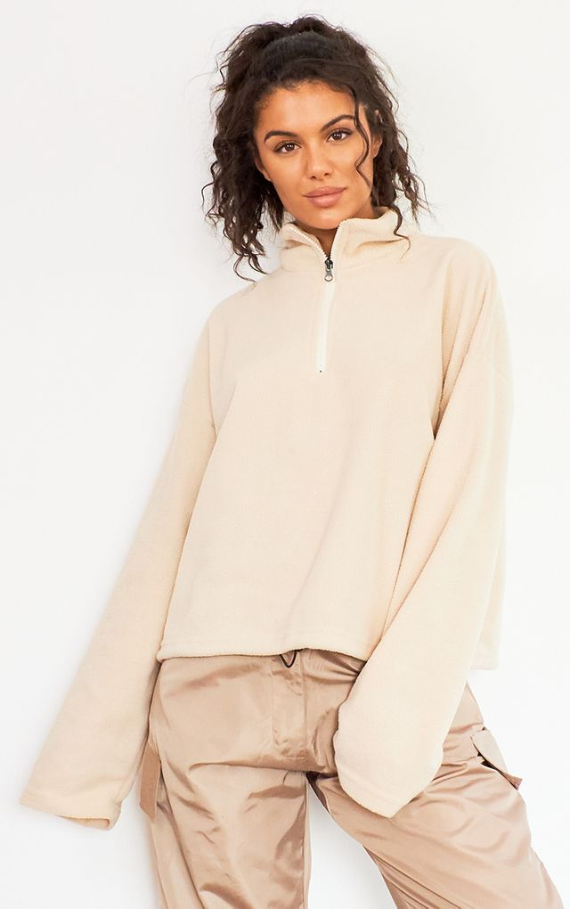 Sand Zip Front Fleece Sweater by Pretty Little Thing, available on prettylittlething.com for $18 Kendall Jenner Outerwear SIMILAR PRODUCT