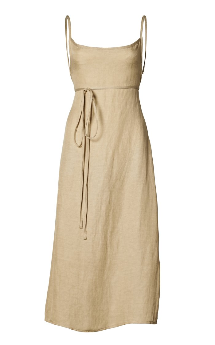 THE K.M. TIE MIDI DRESS IN LINEN CUPRO by Anemos, available on anemosswim.com for $315 Kendall Jenner Dress Exact Product