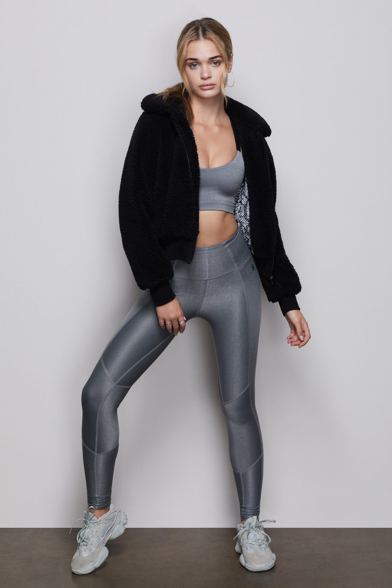 THE SHINY RIB LEGGING | SMOKED PEARL001 by Good American, available on goodamerican.com for $85 Kendall Jenner Pants Exact Product