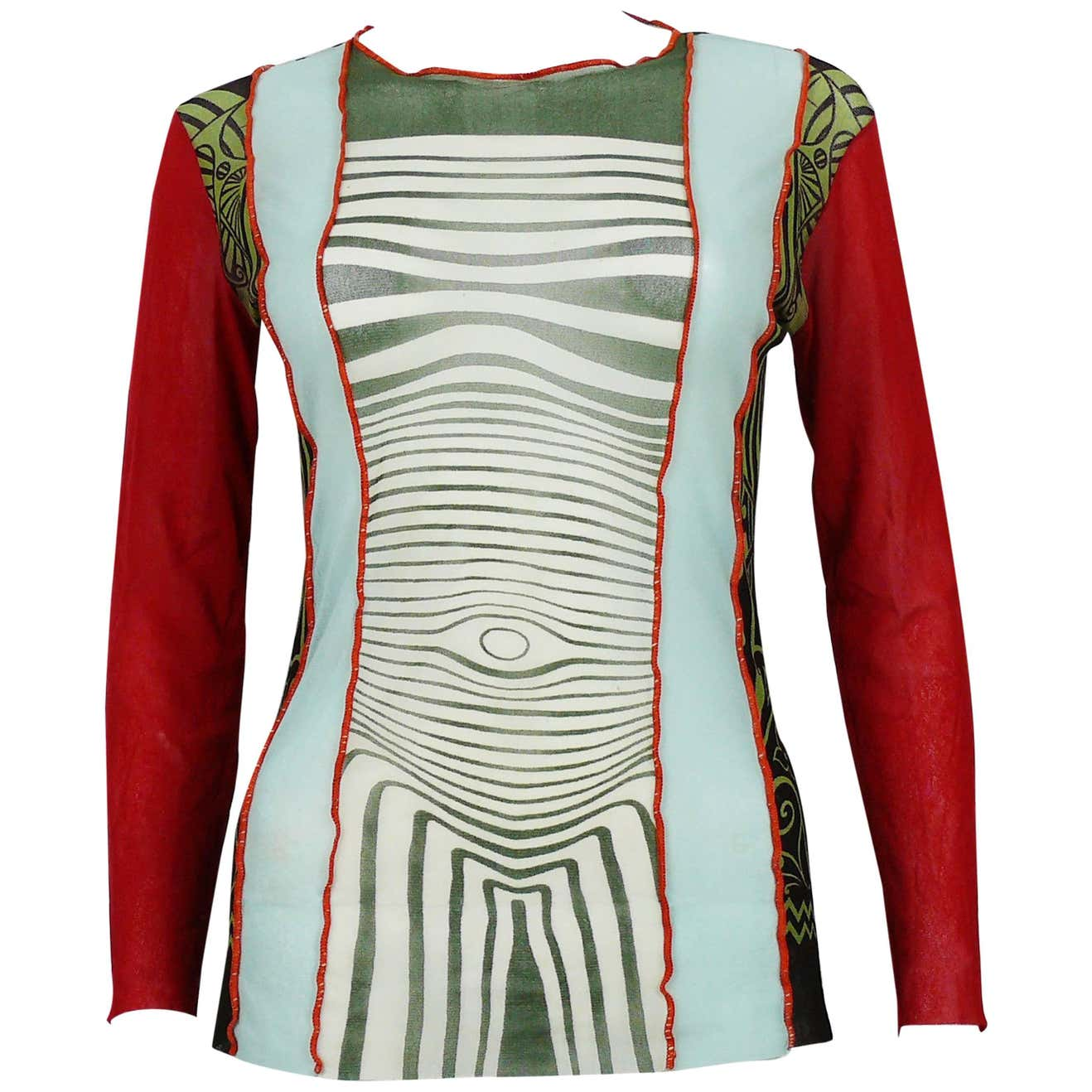 Vintage 1996 Cyberbaba Body Map Optical Illusion Top Size L by Jean Paul Gaultier, available on 1stdibs.com for $296.78 Kendall Jenner Top Exact Product