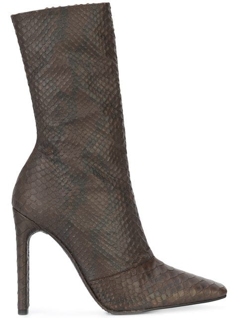 snake effect calf boots by Yeezy, available on farfetch.com for $1010 Kendall Jenner Shoes Exact Product