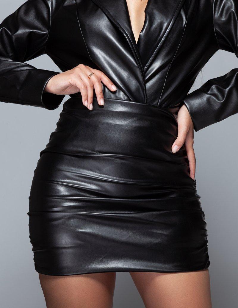 DRAPED LEATHER MINI SKIRT by Anna and Dianna, available on annaanddianna.com for $175 Khloe Kardashian Skirt Exact Product