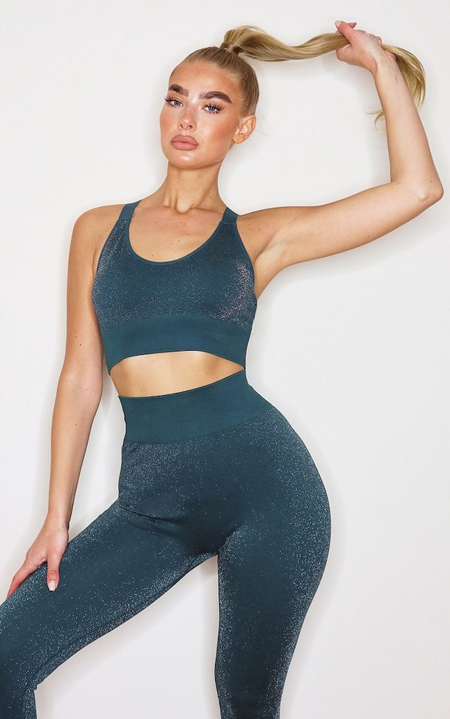 Green Metallic Cross Back Sports Bra by Pretty Little Thing, available on prettylittlething.com for $15 Khloe Kardashian Top SIMILAR PRODUCT