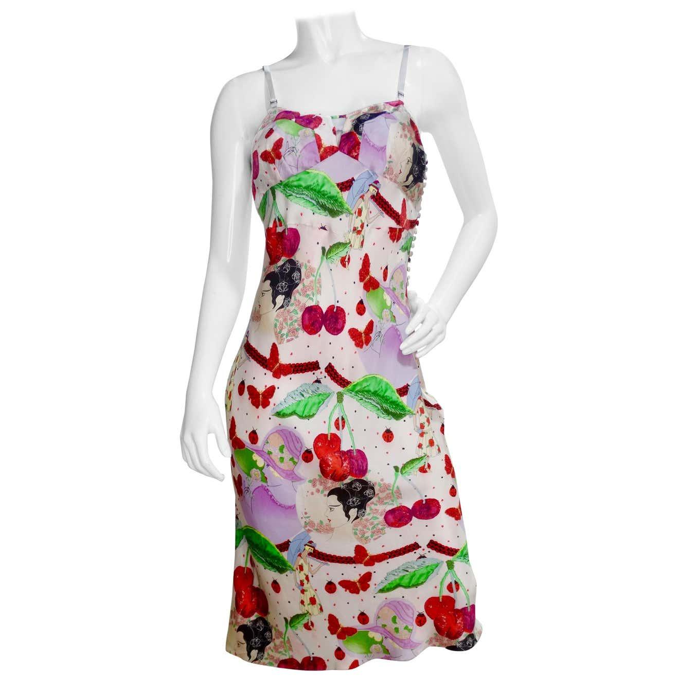 2000s Cherry Motif Silk Slip Dress by John Galliano, available on 1stdibs.com for $750 Kim Kardashian Dress Exact Product