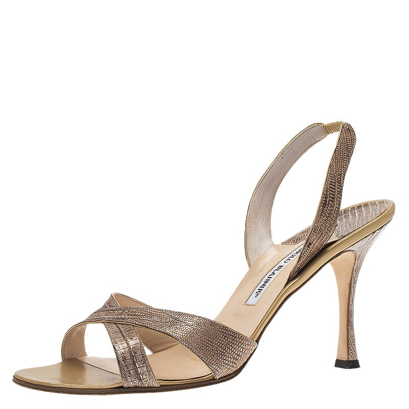 Brown Lizard Emboss Leather Callasli Slingback Sandals by Manolo Blahnik, available on theluxurycloset.com for $292 Kim Kardashian Shoes Exact Product